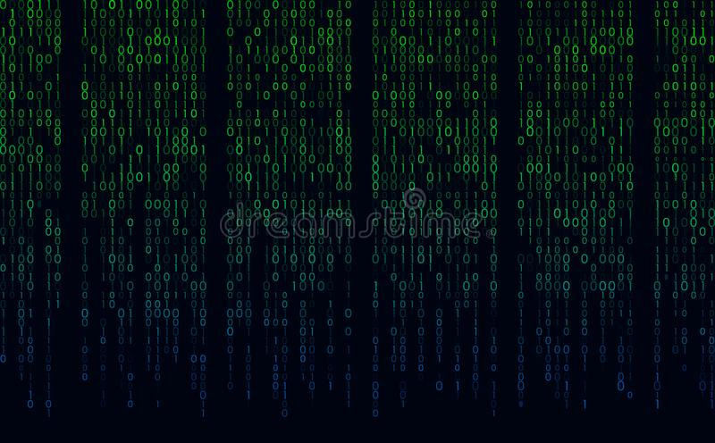 在屏幕上的小河二进制矩阵代码 计算机矩阵数字 概念属于编码,隐藏交换,乱砍或者我的 库存例证