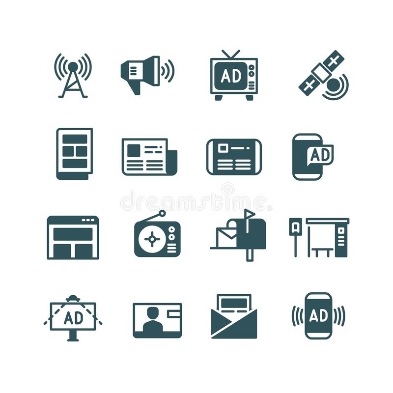 在屏幕上的广告,给电视做广告,室外广告,网上广告导航象 向量例证