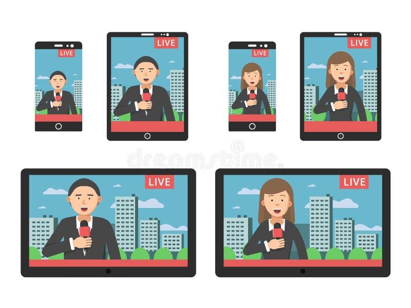 在屏幕上的新闻在不同的数字式设备智能手机和片剂 皇族释放例证