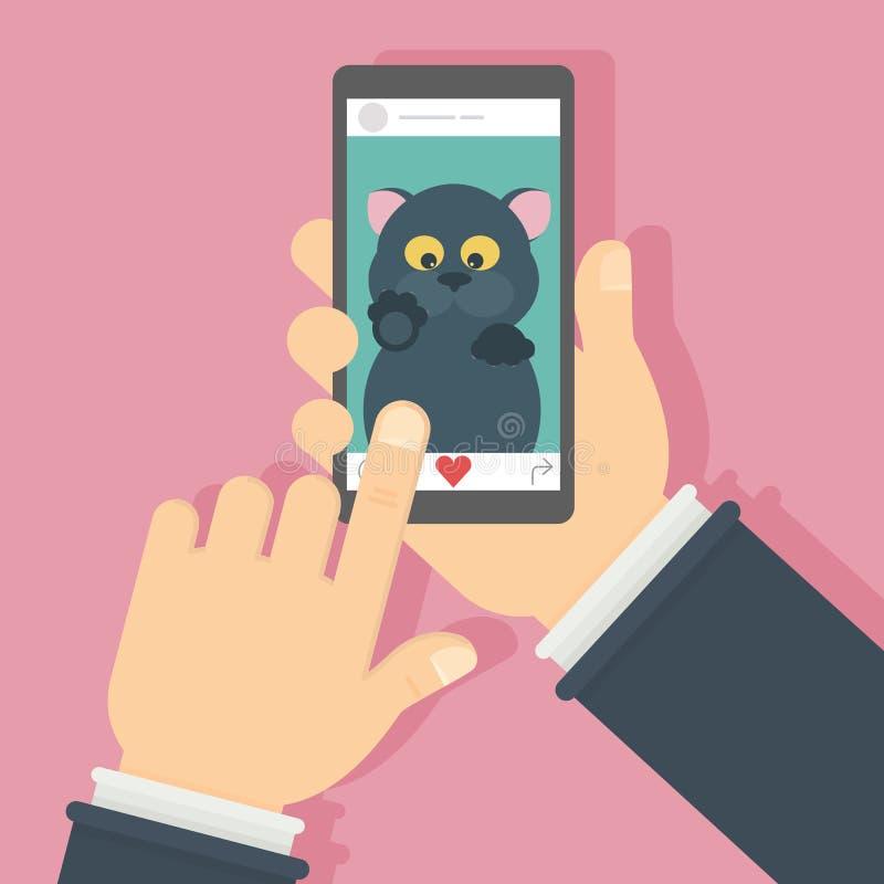 在屏幕上的猫 向量例证