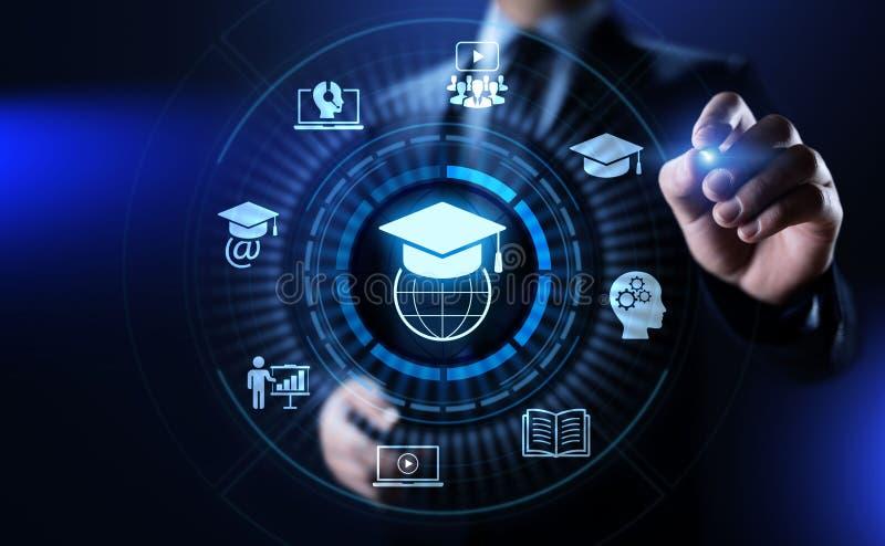 在屏幕上的电子教学网上教育产业互联网概念 向量例证