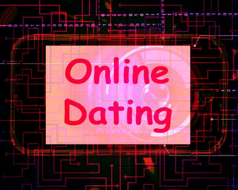 在屏幕上的网上约会显示Romancing和网爱 向量例证