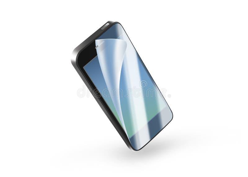 在屏幕上的黑电话保护影片 与prote的流动显示 库存例证