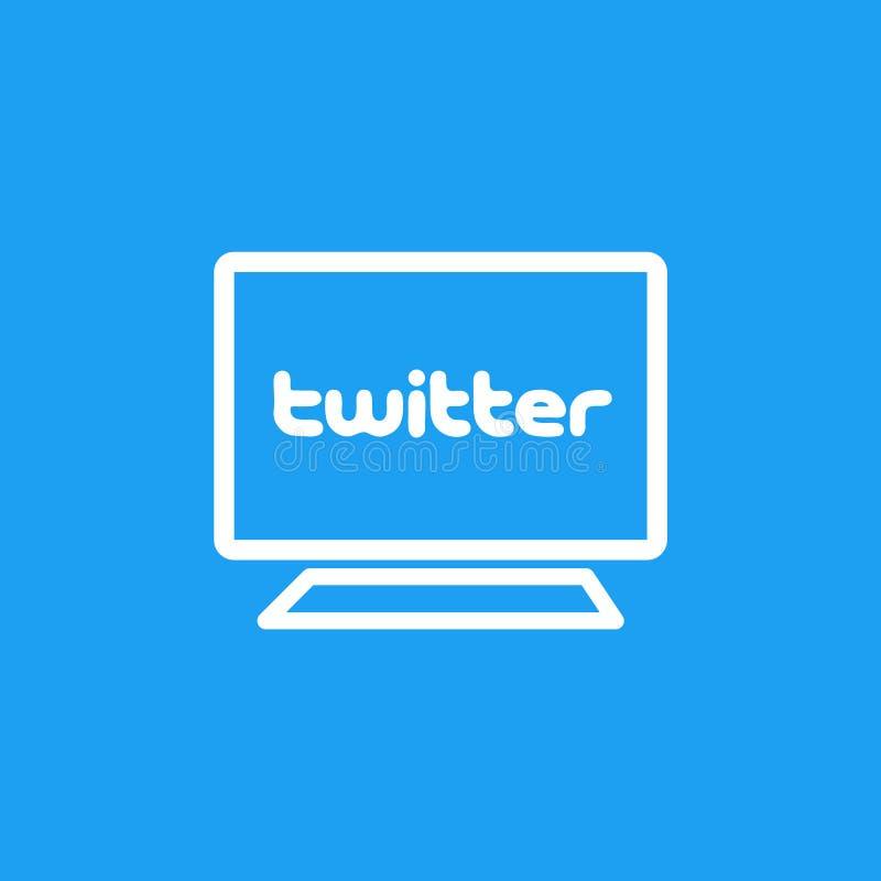 在屏幕上的Twitter商标 社会媒体和网络连接 皇族释放例证