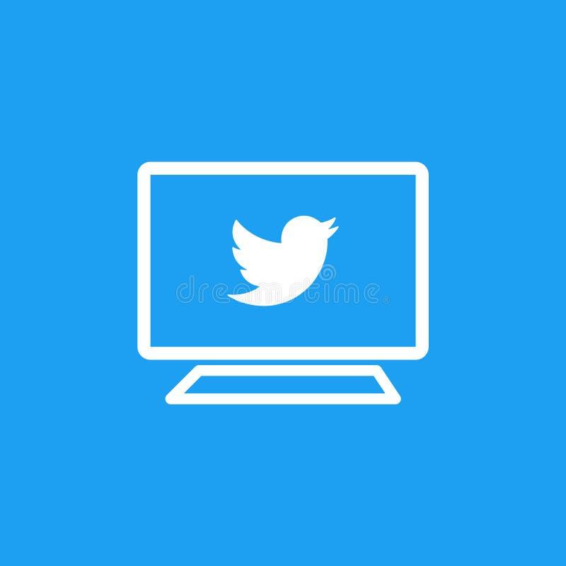 在屏幕上的Twitter商标 社会媒体和网络连接 库存例证