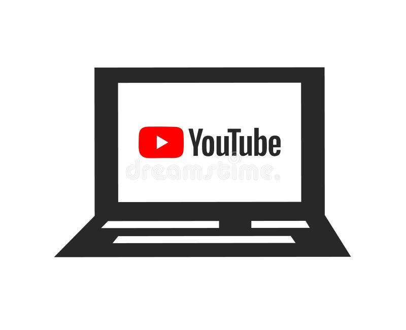 在屏幕上的YouTube商标 膝上型计算机象 社会媒介和录影分享的标志