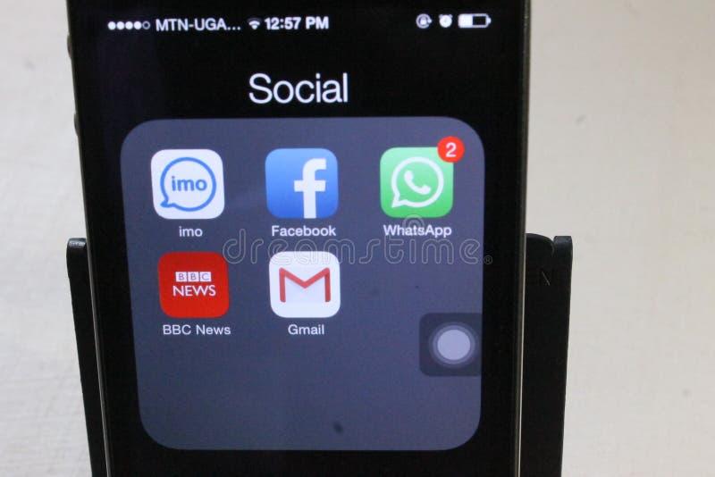 在屏幕显示的社会媒介app 免版税图库摄影