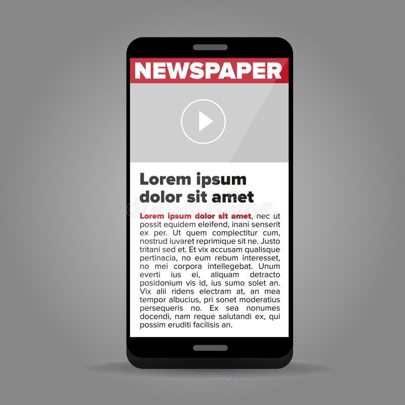 在屏幕智能手机的报纸 皇族释放例证
