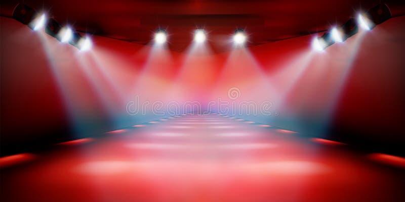 在展示期间的阶段指挥台 红色背景 也corel凹道例证向量 皇族释放例证