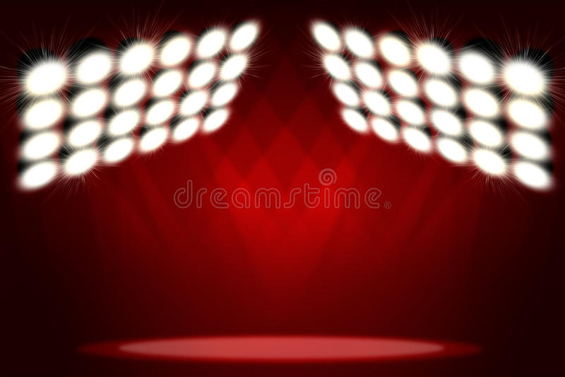 在展示的红色背景 在烟雾的聚光灯 免版税库存照片