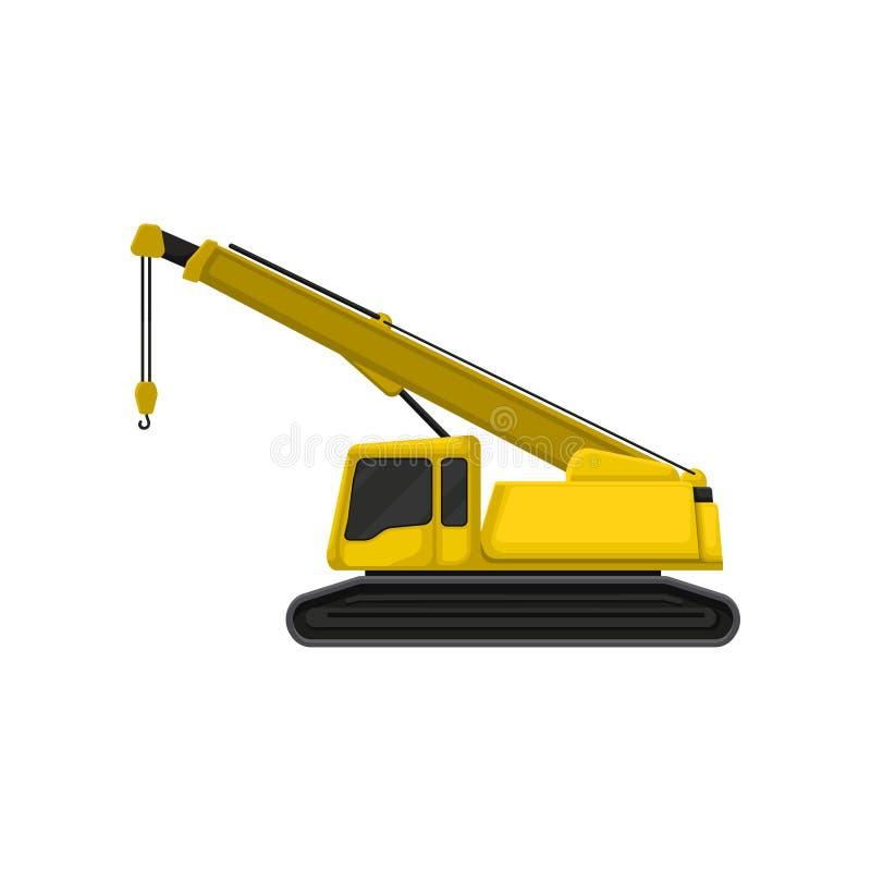 在履带牵引装置轨道的黄色起重机 建设工程题材 修造的房子的重的设备 平的传染媒介象 库存例证