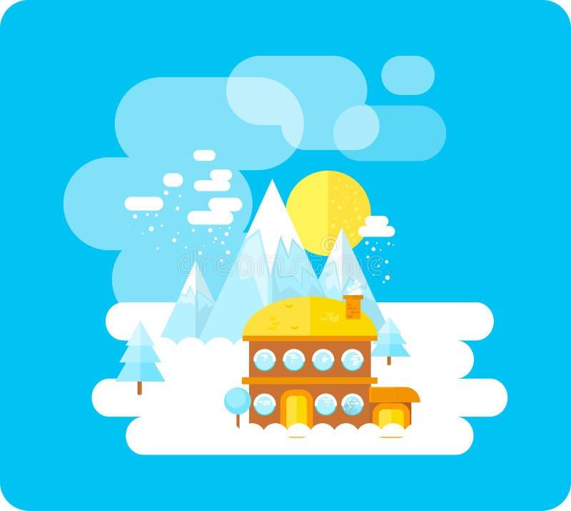 在山、冬时、雪和乐趣的滑雪胜地 向量例证