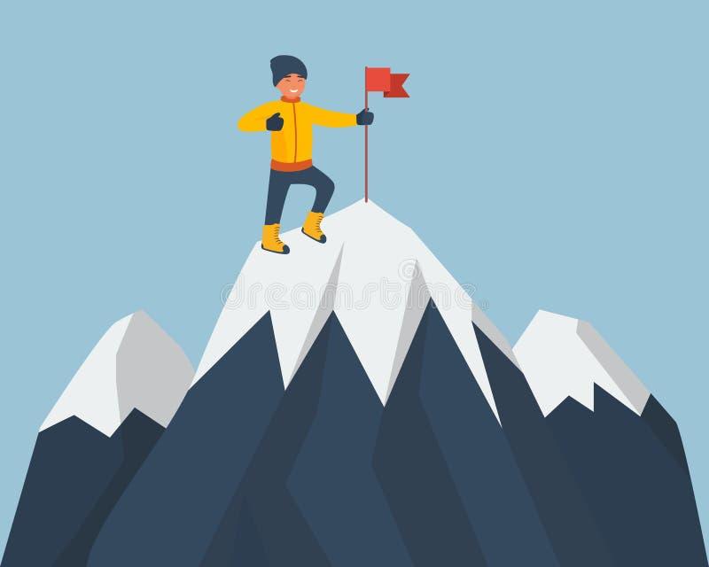 在山上面的登山人身分与一面红旗的 上升在岩石的年轻微笑的登山家 向量动画片 皇族释放例证