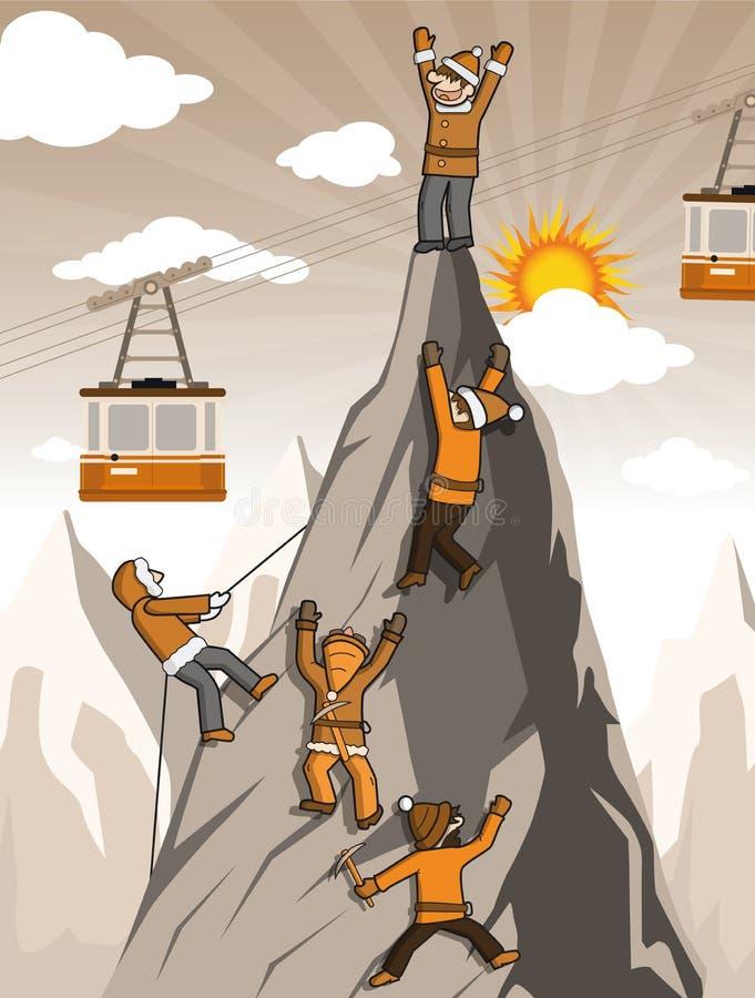 在山上面的登山人 向量例证