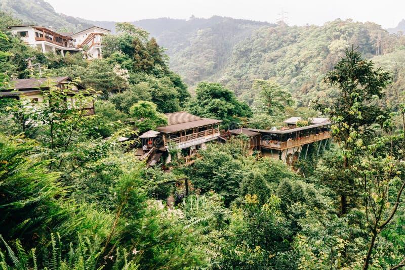 在山上面,台湾的繁体中文大厦 图库摄影