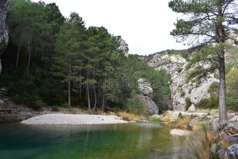 在山和河之间的风景 免版税库存照片