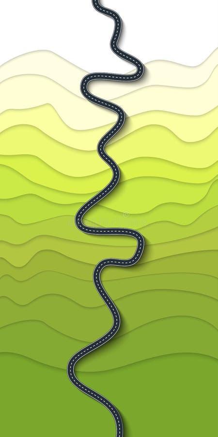 在山坡的美丽的弯曲道路 山蜒蜒顶视图 皇族释放例证