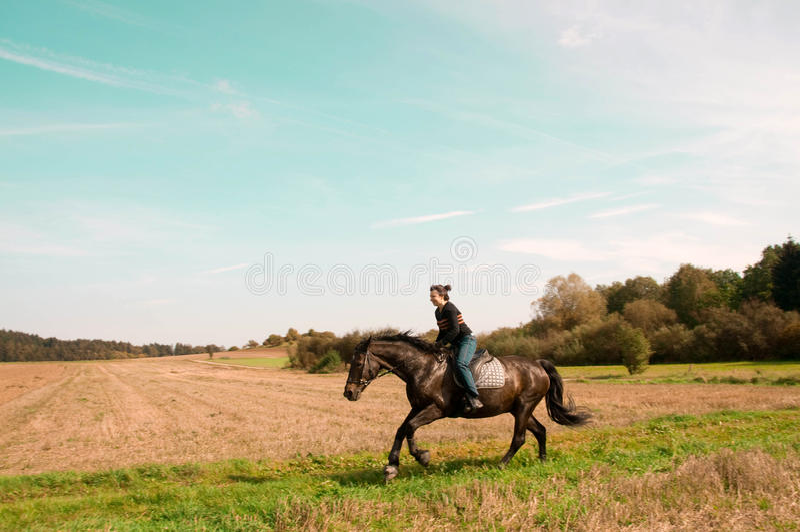 在山坡的Equestrienne乘驾。 免版税图库摄影