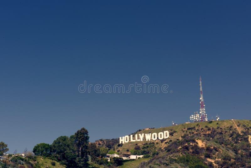 在山坡,加利福尼亚的好莱坞标志 库存图片
