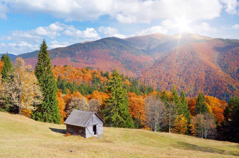在山森林秋天风景的小屋 图库摄影