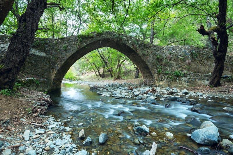 在山河的威尼斯式桥梁 库存照片