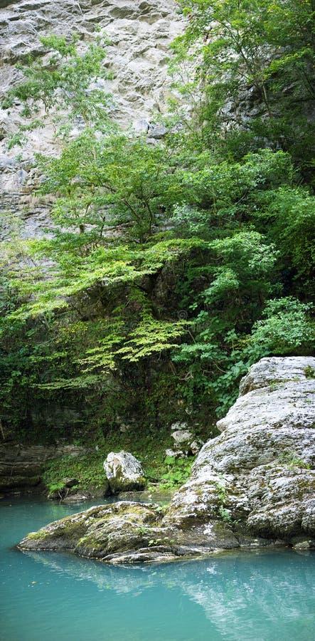 在山河Khosta的白色石头 库存照片