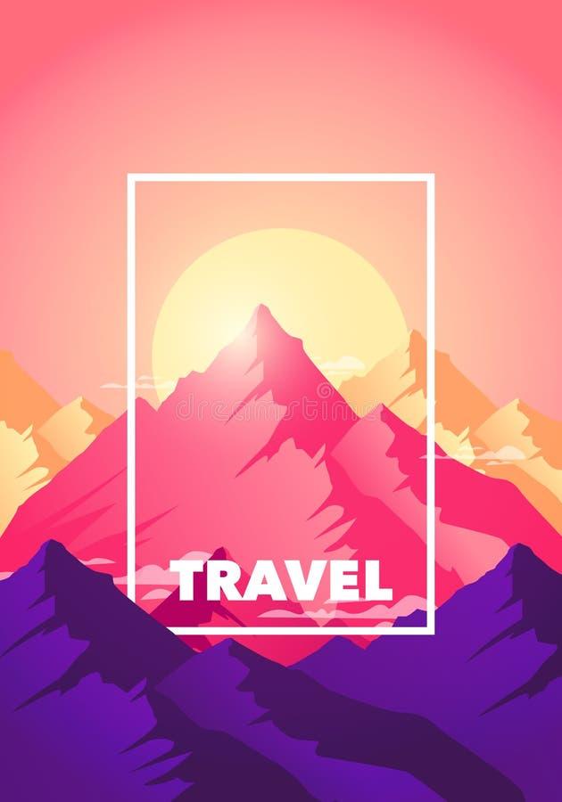 在山海报的上面的传染媒介例证平的旅行冒险攀登 剪影甚而自然山在早晨和 库存例证