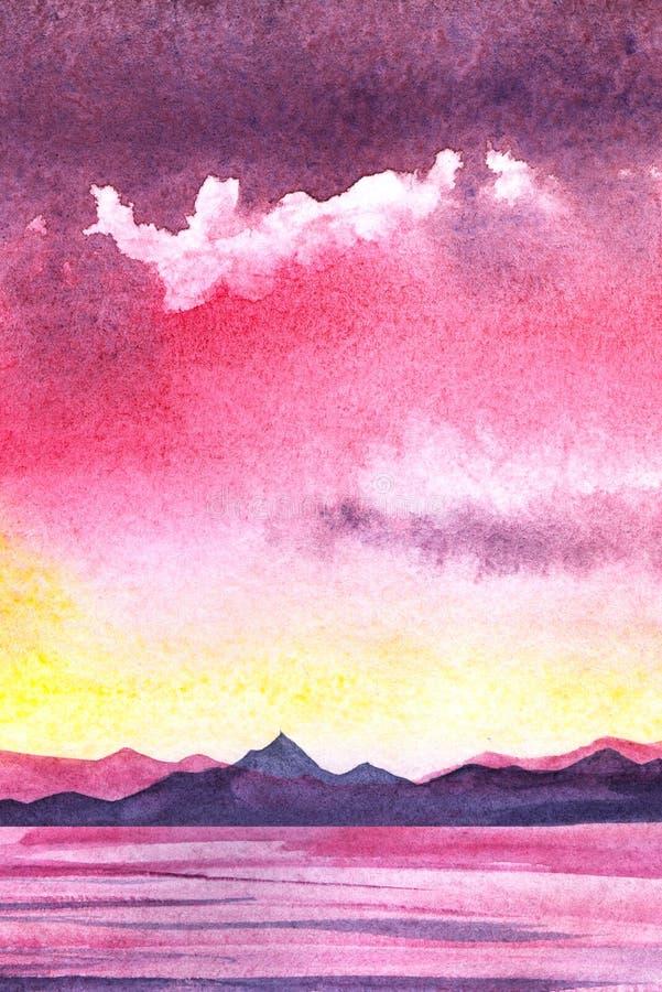 在山湖岸的明亮的桃红色日落  镇静水表面,不尽的山脉 从变粉红色的黄色的梯度 皇族释放例证