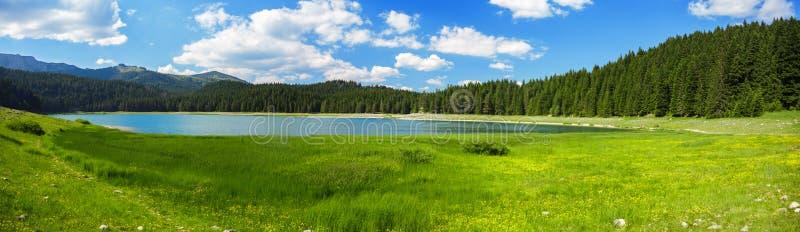 在山湖附近的风景 免版税图库摄影