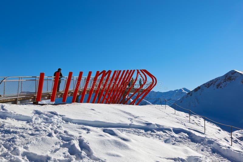 在山滑雪胜地坏Gastein -奥地利的观点 免版税库存照片