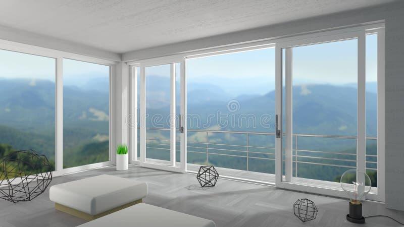 在山瑞士山中的牧人小屋的白色宽滚滑门 皇族释放例证
