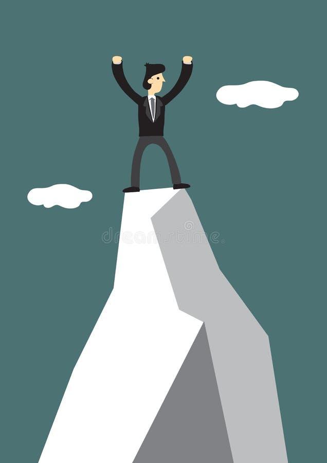 在山的上面的商人攀登 领导的公司世界的概念和挑战 向量例证