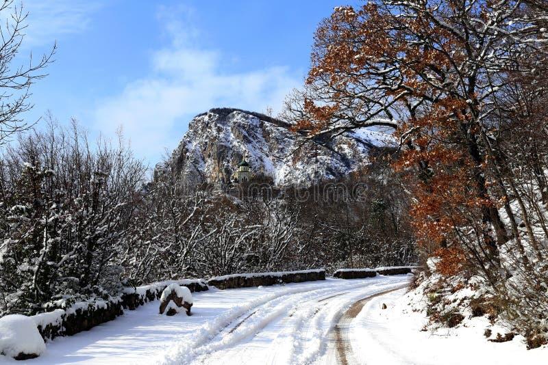 在山的上面的路 库存照片
