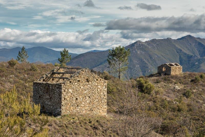 在山的两遗弃石buidings在Venaco附近在可西嘉岛 库存照片