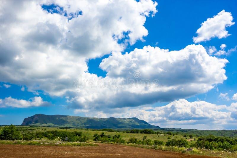 在山的五颜六色的夏天风景,在与白色云彩的一天空蔚蓝下 免版税库存照片