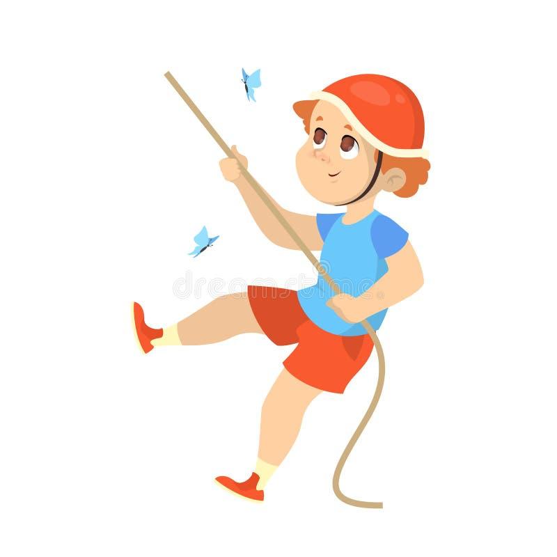 在山的儿童攀登使用绳索 年轻侦察员 向量例证