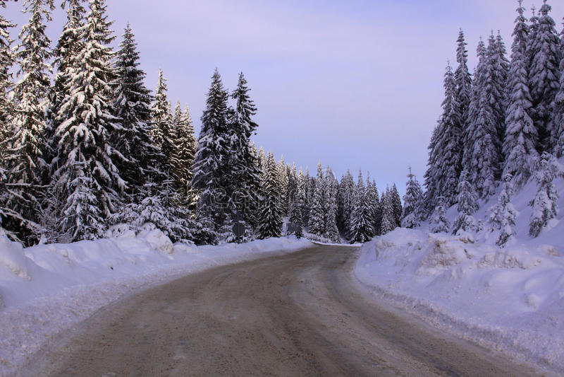 在山的农村路在冬天 免版税库存图片