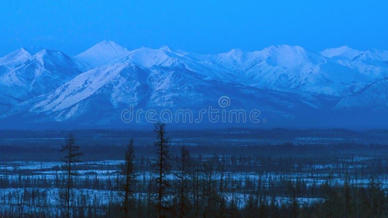 在山的冬天风景在微明在雅库特,西伯利亚,俄罗斯 免版税图库摄影