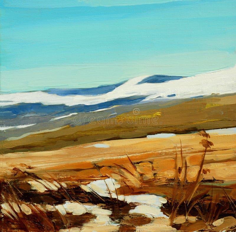 在山的冬天,绘在帆布,例证 库存照片