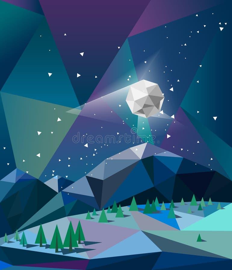 在山的北极光在与月亮传染媒介的冬天夜 免版税库存照片
