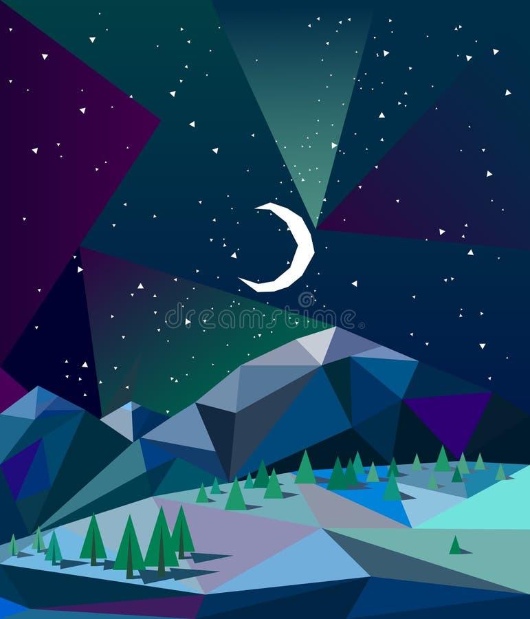 在山的北极光在与月亮的冬天夜 库存照片