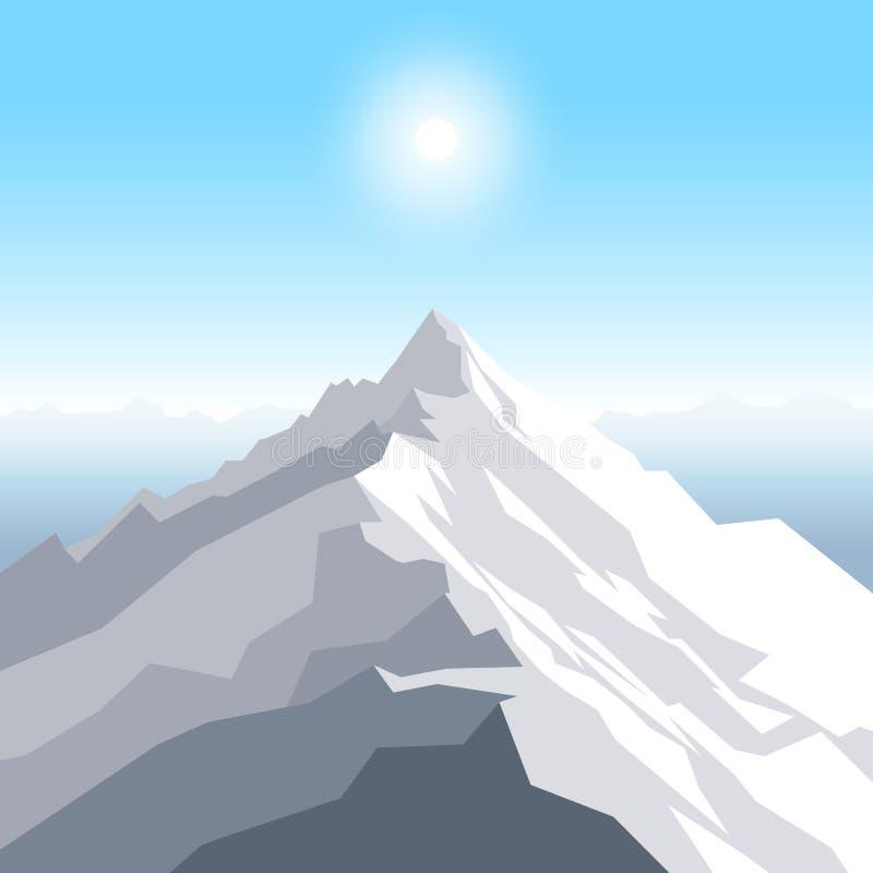 在山的午间太阳 与峰顶的风景 登山和旅行和室外休闲概念 库存例证