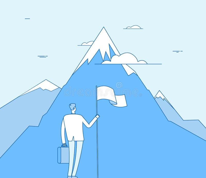 在山的商人 有旗子起点成功成就的成功的人 公司的目的,进取者视觉 库存例证
