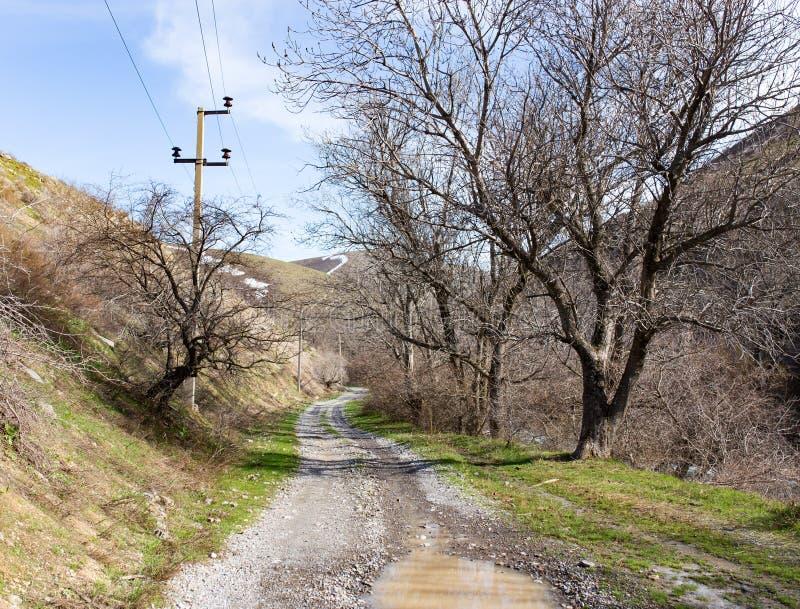 在山的土路露天 库存照片