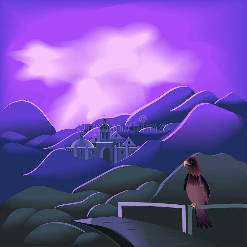 在山的城堡在日落、桥梁和鸷 向量例证