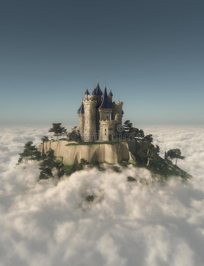 在山的城堡 免版税库存图片