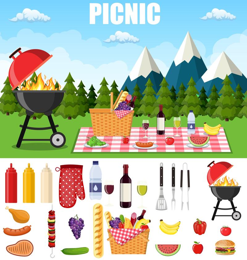 在山的夏天野餐 库存例证