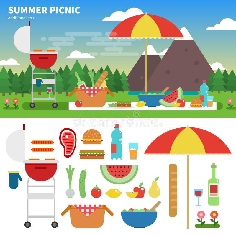 在山的夏天野餐 皇族释放例证