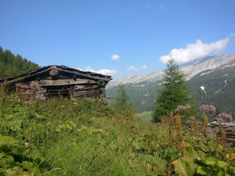 在山的小屋在巴伐利亚奥地利蒂罗尔德国 库存照片