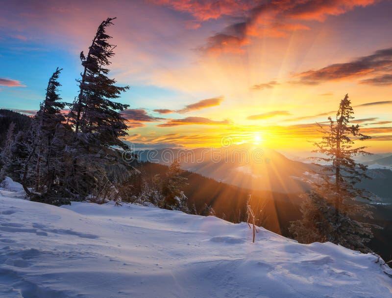 在山的庄严冬天风景 库存图片